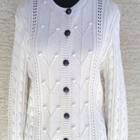 Women's large, chunky, cream colored sweater. Cotton. 7 button front. Willi SMith Large cream colored cardigan sweater