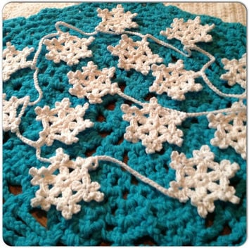 SALE-Hand Crochet Garland,Small Doily Decoration,Snowy White Snowflake Garland,12 Snowflakes Many Colors-Winter White,Grey,Off-White,Natural