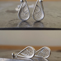 Silver Dangle Earrings. Drop Filigree Earrings. Sterling Silver Handmade Earrings
