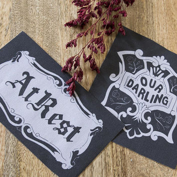 Casket Plate Patch - Our Darling or At Rest - Sew On Cloth Patch