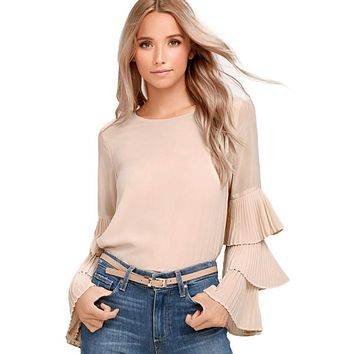 New Elegant Solid Color Flare Sleeve Chiffon Top