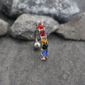 Reverse Belly Button Rings, Belly Bar, Navel Ring, Rainbow Body Piercing | 14G Gauge Stainless Steel | Multicolor Colorful Crystals Gems