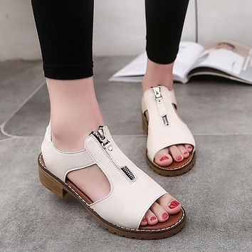 Ulrica New High Quality Women Summer Sport Casual Sandals Shoes Ladies Platform Zipper Sandals Wedges shoes for women zapatos