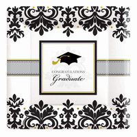 Black & White Grad Graduation Square Banquet Dinner Plates