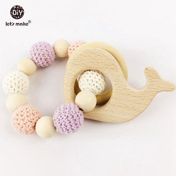 "Let's make Natural Organic Wooden Crochet Baby Teether Baby Gift ""Cotton Candy Bliss"" + Heart Ring"