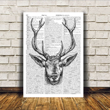 Animal art Deer poster Wall decor Dictionary print RTA349