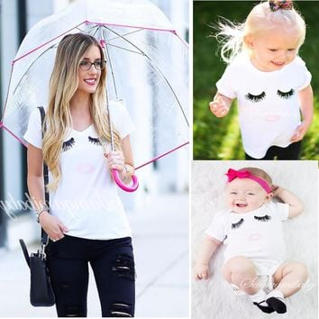 Mother And Daughter Clothes Cute Wink Pattern T Shirt Baby Rompers Mother&Kids Clothing Suit Mother Daughter Outfits Family Look