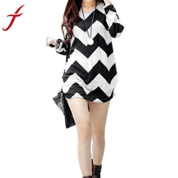 Long Sleeve Chevron Wavy Dress