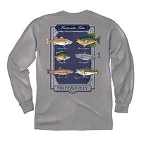 Freshwater Fish Long Sleeve Tee in Grey by Fripp & Folly - FINAL SALE