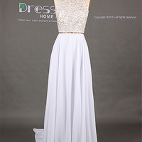 Sweet 16 White High Neck Gold Beading Open Back A Line Long Flowy Prom Dress/Long Chiffon Homecoming Dress/Sexy Evening Party Dress DH249