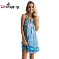Print Sexy Boho Dress Casual Women Cami Resort vestido de festa feminino Monos Cheap Clothes China Summer Style Gypsy Dresses