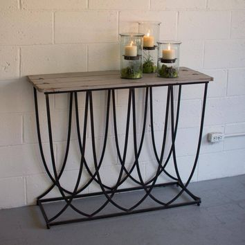 Iron Console Table with Natural Top
