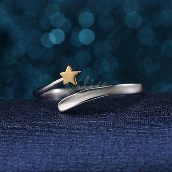 Retro chic Fashion 925 Sterling Silver Gold Star Opening Adjustable Couple Rings Gifts = 1929853892