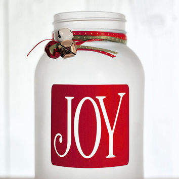 Christmas Joy Tea Light Votive Holiday Quart Frosted Painted Mason Jar