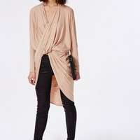 Missguided - Longline Wrap Front Jersey Top Nude