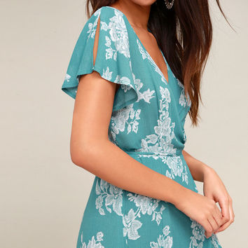 Heart of Marigold Turquoise Floral Print Wrap Maxi Dress