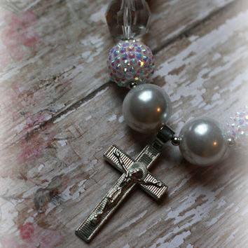 BAPTISM NECKLACE, chunky, bubblegum, first communion, pearl, white, Christian, Easter, silver, cross, jesus, couture, boutique, girl