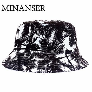 MinanSer Black Coconut Tree Printed Hats Women Panama Bucket Reverse Harajuku Cap Men's Hawii weed Bucket