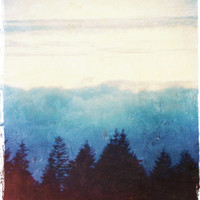 Dreamy Landscape Photo - Ethereal Sky and Clouds - Mountains and Trees - Moody Fog Mist - Blue and White