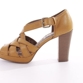 Mustard Yellow Vegan Leather Strappy Platform Sandals Wooden Heel Tall Pumps 90s Vintage Shoes Womens Size US 7.5 UK 5.5 EUR38