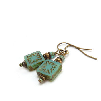 Turquoise Square Earrings - Earthy Picasso Finish Etched Glass - Antiqued Bronze - Aqua Blue - Handmade Boho Earrings