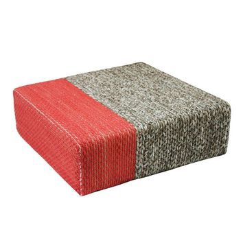 """Ira"" Natural/Coral Handmade Wool Braided Square Pouf"