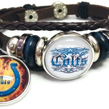 NFL Flaming Blue Horseshoe & Tribal Tattoo Art Indianapolis Colts Bracelet Brown Leather Football Fan W/2 18MM - 20MM Snap Charms New Item