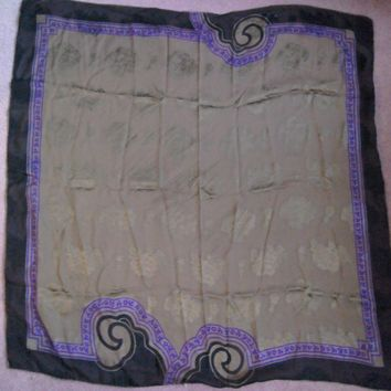 Vintage Gianni Versace 100% silk scarf. Black,Purple &Gold with flowers & leaves