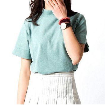 New Fashion 2018 Summer Korean Style All-match Solid Turtleneck Short Sleeve Women T-shirt Female Shirt Fresh Color Women Tops