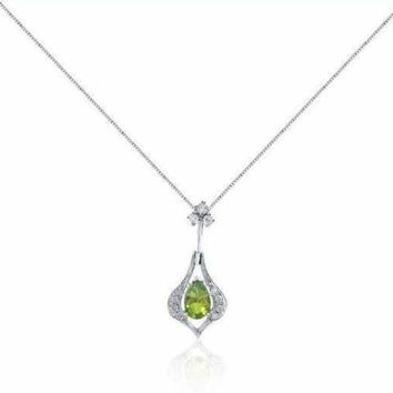 1.04 Ctw Peridot and Diamond Drop Pendant in 14K White Gold by Luxinelle® Jewelry