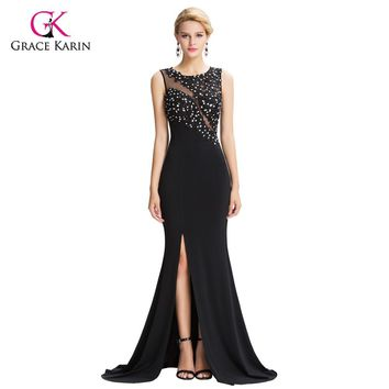 Mermaid Evening Dresses Grace Karin Black See Through Sheer 2018 New Arrival Sexy Slit Formal Evening Gowns Long Party Dresses