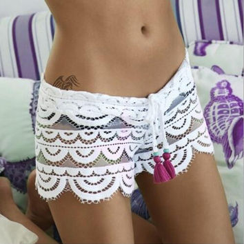 Hollow Out Lace Beach Crochet Casual Shorts