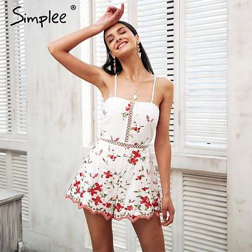 Simplee Elegant strap embroidery rompers Women jumpsuit lace up sexy backless playsuit 2018 Vintage floral print summer overalls