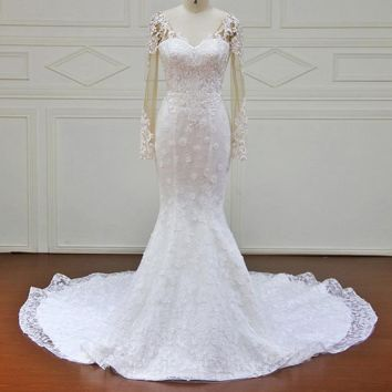 Mermaid Wedding Dresses Appliques lace backless Bridal Gowns Wedding Dress