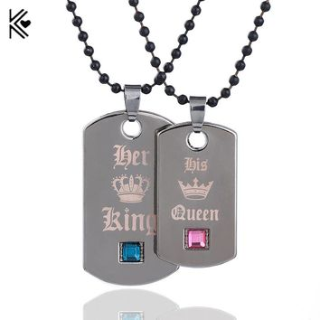 2018 New 1pc Her King & His Queen Couple Necklaces Black Tag Pendant Necklace With Crystal Stone for Valentine's Day Present