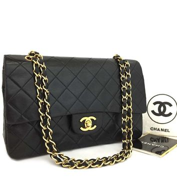 CHANEL Double Flap 25 Quilted CC Logo Lambskin w/Chain Shoulder Bag Black/k150