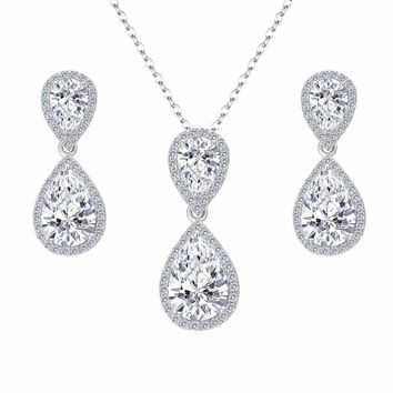 BELLA Fashion Sparkling Teardrop Wedding Necklace Earrings Set Cubic Zircon Bridal Jewelry Set For Bridesmaid Party Wearing Gift