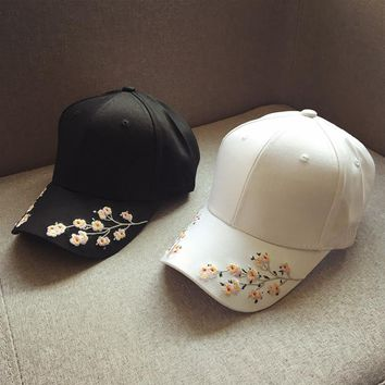 Embroidered Flowers Cap