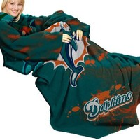 """NFL Miami Dolphins Comfy Throw, Blanket with Sleeves, """"Smoke"""" Design"""
