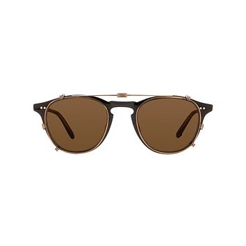 Garrett Leight - Hampton Clip M 46mm Gold Clip-On Sunglasses / Bronze Shadow Mirror Lenses