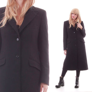 Vintage Dolce and Gabbana Black Wool Coat Military Inspired Long Blazer Minimalist Chic Made in Italy Designer Outerwear Womens Size Medium