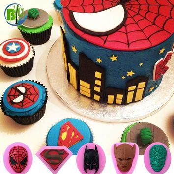 Superheros Film Character Molds Silicone Cake Mold DIY Chocolate Candy Moulds Fondant Cake Decorating Tools