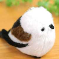 Soft and Downy Mini Bird Stuffed Ball Chain Accessory (Long-tailed Tit)