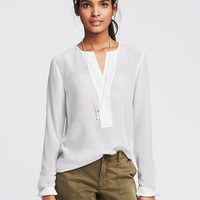 Pintuck White Silk Tunic