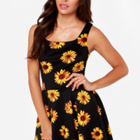 All Decked Sprout Black Floral Print Dress