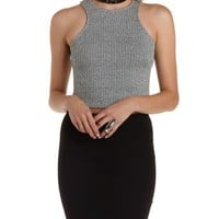Ribbed Racer Front Tank Top by Charlotte Russe