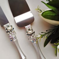 Wedding Cake Server Set Wedding Cake Knife Knife Cake Cutting Set Cake Servers Wedding Wedding Cake Server white pearl cake knife set of 2