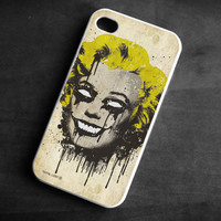 IPhone Case zombie Marilyn Monroe skull TPU Gel Silicone Cover iPhone 4/4S gothic art black yellow