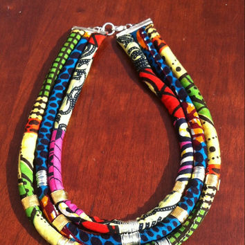 Multi colored wax print Dutch wax african tribal kitenge chitenge ankara fabric bib statement rope necklace