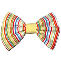 Rainbow fabric bow, Womens hair clip, bridesmaid gift, Nautica, cotton fabric stripe print hair clips, simple large fabric bows